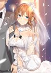 1boy 1girl azur_lane bangs black_neckwear blue_eyes blurry blurry_background blush bow bowtie braid breasts bridal_gauntlets bridal_veil bride brown_hair church collarbone collared_shirt dress eyebrows_visible_through_hair formal french_braid gloves grey_jacket grey_pants head_tilt highres jacket jewelry locked_arms looking_at_viewer midriff navel necktie pants parted_lips petals repulse_(azur_lane) ring sapphire_(stone) shirt short_hair sidelocks smile stomach suit v veil wedding wedding_dress wedding_ring white_dress white_gloves white_shirt yappen