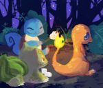 2014 3_toes ambiguous_gender animated anthro bedupolker biped blue_eyes blue_skin blue_tail brown_shell bulbasaur charmander claws cooking curled_tail cute detailed_background digital_media_(artwork) digital_painting_(artwork) dirt eyes_closed feral fire flaming_tail flora_fauna food forest green_skin green_spots group happy holding_object lighting long_tail looking_at_another looking_back loop marshmallow nature nintendo open_mouth orange_skin orange_tail outside plant pokémon pokémon_(species) quadruped red_eyes reptile roasting scalie shell shrub sitting sky smile spots spotted_skin squirtle star starry_sky starter_trio stick toe_claws toes toony tree video_games white_claws