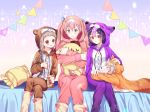 1boy 3girls :d animal_ears animal_hood bed blue_eyes blue_ribbon blush bow braid brown_hair brown_pajamas bunny_ears bunny_hood bunny_pajamas crescent dabi_(dabibubi) eyes_closed feet_out_of_frame frilled_pillow frills hair_ornament hairclip hand_on_another's_head hood jumpsuit legs_crossed long_hair long_sleeves multicolored_hair multiple_girls object_hug on_bed open_mouth orange_pajamas original pajamas parted_lips pennant pillow pink_bow pink_hair pink_pajamas profile purple_eyes purple_hair purple_pajamas red_eyes ribbon silver_hair sitting sitting_on_bed smile sparkle star streaked_hair string_of_flags stuffed_animal stuffed_bunny stuffed_toy very_long_hair wavy_mouth