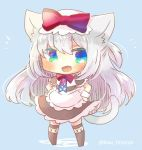 1girl :d american_flag american_flag_print animal_ears apron azur_lane black_dress black_legwear blue_background blue_eyes blush bow cat_ears cat_girl cat_tail chibi dress fang flag_print full_body hair_bow hammann_(azur_lane) hands_on_hips kouu_hiyoyo long_hair looking_at_viewer no_shoes open_mouth print_neckwear puffy_short_sleeves puffy_sleeves red_bow short_sleeves silver_hair smile solo standing tail tail_raised thighhighs twitter_username very_long_hair waist_apron white_apron wrist_cuffs