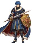 1boy armor armored_boots belt blue_eyes blue_hair boots cape closed_mouth falchion_(fire_emblem) fingerless_gloves fire_emblem fire_emblem:_monshou_no_nazo fire_emblem_heroes full_body fur_trim gloves highres holding holding_shield holding_sword holding_weapon izuka_daisuke jewelry light_smile looking_at_viewer male_focus marth official_art sheath shield shiny shiny_hair short_hair short_sleeves shoulder_armor shoulder_pads sword tiara transparent_background weapon
