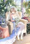 1girl armchair azur_lane bare_arms bare_shoulders birdcage blonde_hair blue_flower blue_rose blush bouquet bow breasts bridal_veil bride bush cage chair cleavage closed_mouth collar collarbone column commentary_request cross cross_earrings day dress earrings flower french full_body garter_straps glint hair_flower hair_ornament hair_over_one_eye high_heels highres holding holding_bouquet indoors jewelry kiyosato0928 light light_frown light_rays medium_breasts pillar pink_flower pink_rose rose see-through sheffield_(azur_lane) shoe_bow shoes short_hair sign sitting sleeveless sleeveless_dress solo sunbeam sunlight table thighhighs tied_hair turret veil wedding_dress white_dress white_flower white_legwear white_rose window yellow_bow yellow_footwear