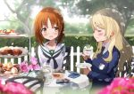 2girls alternate_hairstyle bangs black_neckwear blonde_hair blouse blue_sweater blurry blurry_background blurry_foreground blush brown_eyes brown_hair chair commentary_request cookie cup dappled_sunlight darjeeling day depth_of_field dress_shirt emblem eyebrows_visible_through_hair eyes_closed flower food fuku_kitsune_(fuku_fox) girls_und_panzer hair_down hedge_(plant) holding holding_cup holding_saucer long_hair long_sleeves looking_at_another macaron multiple_girls neckerchief necktie nishizumi_miho ooarai_school_uniform outdoors pink_flower pink_rose rose saucer school_uniform serafuku shadow shirt short_hair sitting st._gloriana's_(emblem) sunlight sweater tea_party tea_set teacup teapot tiered_tray tree v-neck white_blouse white_shirt wind