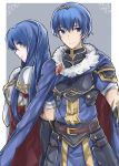 1boy 1girl aiueo1234853 armor blue_eyes blue_hair blush cape elbow_gloves fingerless_gloves fire_emblem fire_emblem:_monshou_no_nazo fire_emblem_heroes gloves highres long_hair looking_at_viewer marth pegasus_knight sheeda simple_background smile thighhighs