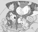 1girl against_glass ahegao anal anus ass ass_grab bodysuit breasts cum cum_in_ass cum_inside cumdrip d.va_(overwatch) fucked_silly greyscale headphones huge_penis mecha monochrome open_mouth overflow overwatch penis robot rolling_eyes saliva sex tongue tongue_out torn_bodysuit torn_clothes