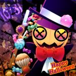 bat bow bowtie button_eyes candy commentary_request crescent_moon cross cupcake dated flower_ornament food halloween happy_halloween hat heart jack-o'-lantern kirby's_epic_yarn kirby_(series) kurosiro lollipop magician moon no_humans pumpkin red_bow red_neckwear silk spider_web squashini star tombstone top_hat wand watermark