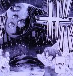 4girls arakawa_(elfen_lied) ass breasts diclonius elfen_lied mecha monochrome multiple_girls nude official_art okamoto_lynn ponytail text_focus vector_attack_craft water