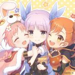 3girls akane_mimi braid closed_mouth cygames eyes_closed hikawa_kyoka hodaka_misogi hug multiple_girls official_art one_eye_closed open_mouth orange_eyes orange_hair pink_hair princess_connect! princess_connect!_re:dive purple_hair
