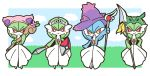 4girls alternate_color animal_ears arm_up blue_hair blue_sky blush blush_stickers border cat_ears chibi cloud creatures_(company) day fake_animal_ears female final_fantasy final_fantasy_xiv flower full_body game_freak gardevoir gen_3_pokemon gen_4_pokemon grass green_hair hand_on_hip hands_up happy hat highres holding holding_shield holding_spear holding_staff holding_sword holding_weapon looking_at_viewer mismagius muguet multiple_girls nintendo no_humans open_mouth orange_eyes outdoors pink_flower pink_hat pokemon pokemon_(creature) polearm purple_hat rayquaza red_eyes shield shiny_pokemon short_hair skitty sky smile spear staff standing sword tiara weapon white_border witch_hat