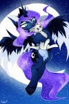 2017 anthro blue_eyes cosmic_hair digital_media_(artwork) dragon duo equine female feral friendship_is_magic hair hooves horn male mammal moon my_little_pony outside paws princess_luna_(mlp) seleeger smile winged_unicorn wings