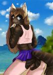 2018 5_fingers anthro beach biped black_fur black_tail blue_eyes brown_hair butt cat cheek_tuft clothing cloud countershade_torso countershading crop_top digital_drawing_(artwork) digital_media_(artwork) easy_access eyelashes feline female fingerless_(marking) fluffy fluffy_tail fur furgonomics grey_countershading grey_fur grey_stripes grey_tail hair half-length_portrait humanoid_hands inner_ear_fluff kiara_aman legwear lighting long_hair looking_back mammal midriff mountain multicolored_fur nature no_underwear outside pink_nose pink_pussy plant portrait presenting presenting_hindquarters presenting_pussy pussy q-nik rear_view sand sea seaside shadow shirt shrub signature skirt sky smile snout solo standing striped_fur striped_tail stripes tail_button_bottoms tail_clothing tank_top thigh_highs tuft two_tone_tail water white_fur