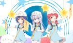 3girls :q ;) absurdres blue_eyes blue_shirt chestnut_mouth chimame-tai commentary cosplay deyui flag flat_cap flat_chest gochuumon_wa_usagi_desu_ka? hair_between_eyes hair_ornament hair_scrunchie hand_on_hip hat hataraku_saibou highres holding holding_flag jouga_maya kafuu_chino long_hair looking_at_viewer low_twintails multiple_girls natsu_megumi one_eye_closed outstretched_arm platelet_(hataraku_saibou) platelet_(hataraku_saibou)_(cosplay) red_eyes scrunchie shirt short_hair short_sleeves shorts smile star tongue tongue_out twintails w white_hat white_scrunchie white_shorts x_hair_ornament yellow_eyes