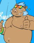 41raco blue_hair boar clothed clothing eyewear facial_hair gouryou hair male mammal mohawk musclegut nipples porcine sideburns slightly_chubby sunglasses surfboard thumbs_up tokyo_afterschool_summoners topless tusks