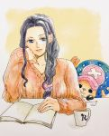 1boy 1girl age_difference artist_request long_hair nico_robin one_piece smile source_request tony_tony_chopper