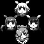>:) 4girls :3 acesrulez album_cover alpaca_ears alpaca_suri_(kemono_friends) animal_ears bangs bird_wings black-headed_ibis_(kemono_friends) blunt_bangs blush_stickers bohemian_rhapsody closed_mouth cover crossed_arms empty_eyes eyebrows_visible_through_hair face fur_collar greyscale hair_over_one_eye hands_up head_wings horizontal_pupils japanese_crested_ibis_(kemono_friends) kemono_friends long_hair medium_hair monochrome multicolored_hair multiple_girls outstretched_hand parody queen_(band) scarlet_ibis_(kemono_friends) short_hair smile twintails v-shaped_eyebrows wings
