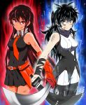 2girls absurdres akame akame_ga_kill! animal_ears arm_ribbon aura bangs bare_shoulders belt black_background black_footwear black_hair black_legwear black_scarf blake_belladonna bow breasts cat_ears cleaver coattails commentary crossover detached_sleeve dragon_ball dragon_ball_super dragonball_z english_commentary eyebrows_visible_through_hair flower gambol_shroud garter_straps gloves grey_eyes gun hair_between_eyes hair_bow handgun high_heels highres holding holding_sword holding_weapon kaio_ken kama_(weapon) katana kusarigama legwear_under_shorts long_hair look-alike looking_at_viewer midriff multiple_girls necktie pantyhose pistol red_eyes reyfearspsychosis ribbon rwby scarf shirt shorts sickle skirt sleeveless sleeveless_shirt sword trait_connection ultra_instinct vambraces very_long_hair vest weapon