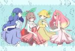 4girls air_bubble blonde_hair blue_eyes blue_hair blush bubble center_frills commentary_request dress frilled_skirt frills gradient gradient_background hair_ornament hair_ribbon hairclip hand_on_own_chest high-waist_skirt highres long_hair looking_at_viewer multiple_girls original personification petit_ramune pink_hair red_eyes ribbon skirt skirt_hold smile very_long_hair yellow_eyes