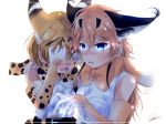2girls absurdres amemiya_neru animal_ears arm_around_neck backlighting belt blonde_hair blue_eyes blush bow bowtie brown_gloves brown_hair brown_neckwear caracal_(kemono_friends) caracal_ears claws covering_eyes crying elbow_gloves extra_ears eyebrows_visible_through_hair gloves glowing glowing_eyes hair_between_eyes highres kemono_friends long_hair looking_at_viewer multicolored multicolored_clothes multicolored_gloves multiple_girls print_neckwear serval_(kemono_friends) serval_ears serval_print shirt short_hair signature sleeveless sleeveless_shirt tears upper_body white_background white_gloves yellow_eyes yellow_gloves yellow_neckwear