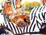 2girls animal_ears animal_print bare_shoulders belt black_hair blonde_hair blue_eyes bow bowtie car caracal_(kemono_friends) caracal_ears caracal_tail commentary_request elbow_gloves eyebrows_visible_through_hair fangs gloves ground_vehicle high-waist_skirt highres kemono_friends kolshica light_brown_hair motor_vehicle multicolored_hair multiple_girls open_mouth serval_(kemono_friends) serval_ears serval_print serval_tail short_hair sidelocks sitting skirt sleeveless tail thighhighs yellow_eyes zebra_print