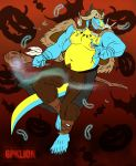 6pklion anthro bat belly belly_hair candy claws clothing dragon fangs feathers food fruit halloween holidays horn jasper magic magic_user male mammal navel nipples pumpkin scalie shaman sharp_teeth staff teeth tribal_spellcaster underwear