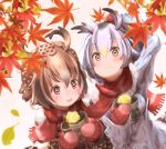 2girls amaoto_kaeru autumn autumn_leaves bird_tail black_hair blush brown_hair commentary_request eating eurasian_eagle_owl_(kemono_friends) fang food food_on_face fur_trim hand_on_own_head head_wings kemono_friends leaf looking_up maple_leaf mittens multicolored_hair multiple_girls northern_white-faced_owl_(kemono_friends) open_mouth potato scarf shared_scarf sweet_potato two-tone_hair white_hair yakiimo