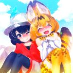 2girls :d ;) ^_^ animal_ear_fluff animal_ears bangs black_eyes black_hair black_legwear blue_sky closed_eyes cloud day elbow_gloves eyebrows_visible_through_hair eyes_closed fangs gloves hakkasame hat hat_feather kaban_(kemono_friends) kemono_friends looking_at_another multiple_girls one_eye_closed open_mouth orange_hair outdoors pantyhose pantyhose_under_shorts red_shirt serval_(kemono_friends) serval_ears serval_print serval_tail shirt short_hair shorts sky smile striped_tail tail thighhighs white_gloves white_hat white_shorts yellow_legwear zettai_ryouiki