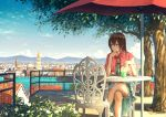 1girl balcony bendy_straw blue_dress blue_eyes blue_sky bow bowtie brown_hair capelet chair chin_rest city cityscape cloud cup daisy day dress drinking_glass drinking_straw elbow_rest expressionless flower frilled_skirt frills gem highres holding legs_crossed looking_to_the_side mountain original outdoors railing red_bow red_neckwear revision shade shadow short_hair sitting skirt sky solo stairs sugi87 table tree umbrella water