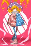1girl american_flag american_flag_legwear american_flag_print blonde_hair clownpiece commentary_request facepaint flag_print hat highres jacket jester_cap long_hair neck_ruff pantyhose pink_background print_legwear red_eyes semimaru_(user_zzuy5884) shoes smile sneakers star star-shaped_pupils star_print striped symbol-shaped_pupils touhou