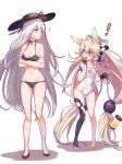 ! 2girls 735308747 absurdres animal_ears bikini blonde_hair braid breasts chinese_commentary cleavage commentary_request cross crossed_arms fox_ears g41_(girls_frontline) girls_frontline gloves hair_ornament hair_ribbon hand_to_own_mouth hat heterochromia highres jewelry kar98k_(girls_frontline) long_hair multiple_girls name_tag necklace prosthesis prosthetic_hand ribbon school_swimsuit single_braid swimsuit twintails very_long_hair white_background white_hair
