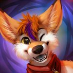 anthro blonde_hair canine fennec fox front_view fur hair inner_ear_fluff jingle_bell looking_at_viewer mammal multicolored_fur one_eye_closed open_mouth purple_hair smile solo thanshuhai tongue two_tone_fur white_fur yellow_eyes yellow_fur