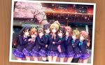 6+girls ame-kan architecture arm_around_shoulder ayase_eli black_hair black_legwear blazer blonde_hair blue_eyes blue_hair blue_jacket blue_neckwear blue_skirt border bow bowtie brown_eyes brown_hair cherry_blossoms commentary cowboy_shot dress_shirt east_asian_architecture green_bow green_eyes green_neckwear hair_between_eyes hair_bow hair_rings highres hoshizora_rin hug hug_from_behind index_finger_raised jacket koizumi_hanayo kousaka_honoka long_hair long_sleeves looking_at_viewer love_live! love_live!_school_idol_project minami_kotori multiple_girls nishikino_maki one_eye_closed open_blazer open_clothes open_jacket open_mouth orange_hair otonokizaka_school_uniform outdoors pantyhose petals photo_(object) plaid plaid_skirt pleated_skirt ponytail purple_eyes purple_hair red_bow red_eyes red_hair red_neckwear scrunchie shirt short_hair shrine skirt smile sonoda_umi striped striped_bow striped_neckwear thighhighs toujou_nozomi twintails upper_body w_arms white_border white_scrunchie white_shirt yazawa_nico yellow_bow yellow_eyes