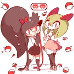 2girls arm_up artist_name bandaid bandaid_on_face black_dress black_footwear black_hair black_legwear blush breasts brown_footwear creatures_(company) diives dress extra_mouth female from_behind full_body game_freak gameplay_mechanics gen_3_pokemon green_hair hand_up happy kirlia kneehighs long_hair looking_back mawile motion_lines multicolored_hair multiple_girls necktie nintendo no_humans pink_neckwear pink_skirt poke_ball poke_ball_(generic) pokemon pokemon_(creature) pokemon_go red_eyes red_hair red_neckwear school_uniform sharp_teeth shiny shiny_hair shirt shoes short_sleeves signature simple_background skirt sleeveless sleeveless_dress small_breasts smile standing teeth thighhighs tongue tongue_out two-tone_hair uniform very_long_hair white_background white_shirt zettai_ryouiki