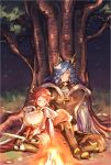 1boy 1girl against_tree animal_ears bangs black_gloves black_legwear blue_hair blush boots bra breasts brown_bra brown_footwear brown_pants brown_vest campfire cape cleavage closed_mouth commentary_request couple cow_ears cow_horns cross cross_earrings drang_(granblue_fantasy) draph earrings elbow_pads eno_yukimi erune eyes_closed fire gloves granblue_fantasy grass grey_shirt hair_over_one_eye head_tilt height_difference highres holding holding_sword holding_weapon hood hood_down hooded_cape horns huge_breasts jewelry knee_boots knee_pads leotard light_particles long_hair long_sleeves looking_at_another night night_sky orange_eyes outdoors pants pointy_ears print_bra red_cape red_hair red_leotard shiny shiny_hair shirt short_hair shoulder_armor sidelocks sitting sketch sky sleeping smile spaulders sturm_(granblue_fantasy) sword thighhighs tree underwear vest wariza wavy_hair weapon white_cape