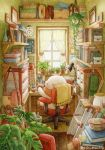 analog_clock artist_name bag bear blush book book_stack bookshelf broom clock coffee_mug cup curtains desk desk_lamp handbag holding holding_cup indoors kettle ladder lamp looking_away mug no_humans original scarf scenery sitting st.kuma swivel_chair trash_can twitter_username window