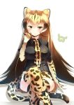 1girl absurdres black_bow black_shirt blonde_hair boots bow bow_footwear breasts brown_hair cheetah_ears cheetah_print cheetah_tail collared_shirt commentary elbow_gloves extra_ears gloves gradient_hair hand_up highres japari_symbol kanzakietc kemono_friends king_cheetah_(kemono_friends) knee_boots legs_crossed long_hair looking_at_viewer medium_breasts multicolored_hair necktie orange_eyes print_footwear print_gloves print_legwear print_neckwear shirt short_sleeves simple_background sitting smile solo thighhighs very_long_hair white_background