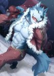 2017 abs absurd_res anthro belt canine christmas clothed clothing digital_media_(artwork) fur hi_res holidays kemono male mammal muscular muscular_male pecs santa_claus simple_background skarltano snow solo wolf yellow_eyes