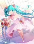 1girl blue_eyes blue_hair blue_ribbon bouquet braid breasts choker cleavage dress earrings eyebrows_visible_through_hair floating_hair flower from_above full_body gloves hair_between_eyes hair_flower hair_ornament hatsune_miku highres holding holding_bouquet indoors jewelry lipstick long_hair looking_at_viewer makeup medium_breasts pink_ribbon pleated_dress pumps q-chiang red_flower red_rose ribbon ribbon_choker rose short_dress sleeveless sleeveless_dress smile solo stairs standing strapless strapless_dress twintails very_long_hair vocaloid white_dress white_gloves