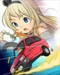 1girl blonde_hair blue_eyes braid car close-up commentary_request crown cup dress driving french_braid ground_vehicle highres jewelry kantai_collection long_hair mini_crown mizuki_raika motion_lines motor_vehicle necklace off-shoulder_dress off_shoulder reliant_robin solo spill tea teacup upper_body warspite_(kantai_collection) zoom_layer