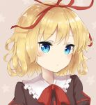 1girl bangs blonde_hair blue_eyes blush bow brown_background brown_shirt closed_mouth coraman eyebrows_visible_through_hair frilled_shirt_collar frills hair_ribbon head_tilt medicine_melancholy portrait puffy_sleeves red_bow red_ribbon ribbon shirt solo star starry_background touhou