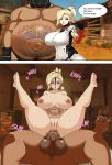 anal blonde_hair breasts english fat fat_man huge_breasts instant_loss_2koma mercy_(overwatch) overwatch penis roadhog_(overwatch) testicles