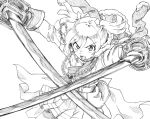 1girl aiguillette belt daiba_nana dual_wielding fur_trim greyscale hair_between_eyes holding holding_sword holding_weapon jacket_on_shoulders lourie monochrome open_mouth pleated_skirt sash shoujo_kageki_revue_starlight skirt solo sword twintails v-shaped_eyebrows waist_cape weapon