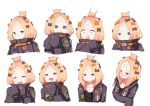 <o>_<o> 1girl :d :t ^_^ abigail_williams_(fate/grand_order) bangs black_bow black_jacket black_shirt blonde_hair blue_eyes blush bow closed_eyes closed_mouth collarbone commentary_request crossed_bandaids crying crying_with_eyes_open expressions eyes_closed facing_viewer fate/grand_order fate_(series) forehead hair_bow hair_bun hands_up head_tilt heroic_spirit_traveling_outfit jacket key long_hair long_sleeves looking_at_viewer multiple_views nose_blush open_clothes open_jacket open_mouth orange_bow parted_bangs parted_lips pikunoma polka_dot polka_dot_bow pout shirt sleeves_past_fingers sleeves_past_wrists smile star surprised tears v-shaped_eyebrows wavy_mouth