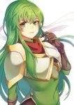 1girl armor elbow_gloves fire_emblem fire_emblem:_monshou_no_nazo gloves green_eyes green_hair headband kokouno_oyazi long_hair looking_at_viewer nintendo paola pegasus_knight smile solo