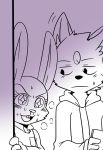2016 annoyed anthro black_and_white blood blush breath buckteeth canine cheek_tuft chest_tuft clothed clothing disney dog duo excited eyelashes female frown fur fur_markings head_tuft holding_object hoodie inner_ear_fluff judy_hopps lagomorph looking_at_another male mammal markings monochrome nosebleed open_mouth rabbit saku1saya seiya_(saku1saya) shirt sweat sweatdrop teeth tuft zootopia