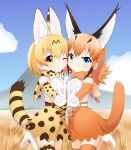 2girls animal_ears blonde_hair blue_eyes blue_sky blush bow bowtie breast_press brown_gloves brown_hair brown_legwear brown_neckwear caracal_(kemono_friends) caracal_ears caracal_tail cheek-to-cheek cloud cross-laced_clothes day elbow_gloves extra_ears eyebrows_visible_through_hair gloves hand_holding high-waist_skirt highres interlocked_fingers kemono_friends long_hair looking_at_viewer mountain multiple_girls one_eye_closed outdoors print_gloves print_legwear print_neckwear print_skirt serval_(kemono_friends) serval_ears serval_print serval_tail shin01571 shirt skirt sky sleeveless sleeveless_shirt smile spotted_hair symmetrical_docking tail thighhighs v white_belt white_gloves yellow_eyes yellow_gloves yellow_legwear yellow_neckwear yellow_skirt zettai_ryouiki