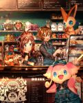 1boy 1girl ahoge alcohol antenna_hair apron arm_up artist_name audino bag bangs black_eyes black_neckwear black_shirt blue_apron blue_eyes blue_hat blush bottle bread brown_eyes brown_hair cafe cake chalkboard chin_rest closed_mouth clothed_pokemon coffee coffee_maker_(object) creatures_(company) cup cupcake drinking_glass eating english_text flour food game_freak gen_5_pokemon hand_up hands_up happy hat high_ponytail holding honey honey_dipper indoors jam jar kettle long_sleeves looking_at_another looking_at_viewer menu naru_(andante) neckerchief nintendo open_mouth overalls paper_bag patrat pokemon pokemon_(game) pokemon_bw ponytail red_sclera sandwich shiny shiny_hair shirt short_hair signature sitting smile spoon standing string_of_flags sugar teeth tied_hair touko_(pokemon) touya_(pokemon) victini wristband