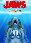 2018 3_toes 5_fingers abs absurd_res alty anthro aurora_(sir-sprinkleton) bikini canine clothing digital_drawing_(artwork) digital_media_(artwork) duo ear_piercing female fish fox fur hi_res jaws_(film) male mammal marine movie_poster open_mouth open_smile orange_fur parody partially_submerged piercing shark smile swimming swimsuit thebmeister toes underwater uvula water