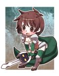 1girl bangs blush bob_cut boots border breasts brown_eyes brown_footwear brown_hair cape character_request chibi cleavage collarbone commentary_request copyright_request d: elbow_gloves eyebrows_visible_through_hair eyes_visible_through_hair full_body furrowed_eyebrows genderswap genderswap_(mtf) gloves gold_trim green_cape green_gloves green_legwear hayasaka high_heel_boots high_heels holding holding_sword holding_weapon knee_boots leaning_forward open_mouth outside_border rance_(series) ransuko sengoku_rance short_hair standing stomach swept_bangs sword tareme tears thighhighs weapon white_border