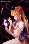 1girl arm_up artist_name bishoujo_senshi_sailor_moon blonde_hair blue_sailor_collar blue_skirt breasts choker closed_mouth commentary crescent_moon dress earrings english_commentary gold_choker heart heart_choker highres holding holding_wand jewelry lips lipstick long_hair makeup medium_breasts moon olga_narhova patreon_logo patreon_username pink_lips pleated_skirt profile red_neckwear sailor_collar sailor_moon short_sleeves skirt solo very_long_hair wand white_dress