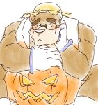 2018 anthro bear bismasouen blush brown_fur clothing eyewear food fruit fur glasses gloves hat humanoid_hands male mammal overweight overweight_male pumpkin sitting solo straw_hat tokyo_afterschool_summoners volos